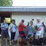 2014 Super Hero Day-Left to Right, Maddie (Intern), Alyssa (Intern),  Adrian (Market Garden Manager), Charles (Intern), Niall (Livestock Manager)